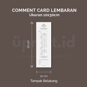 Comment Card - Ukuran 10 x 30 cm (Offset)