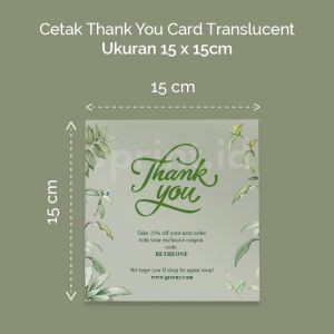 Thank You Card Translucent - 15 x 15 cm