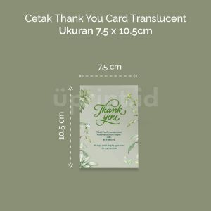 Thank You Card Translucent - 7.5 x 10.5 cm